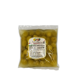 Pitted green olive in bag