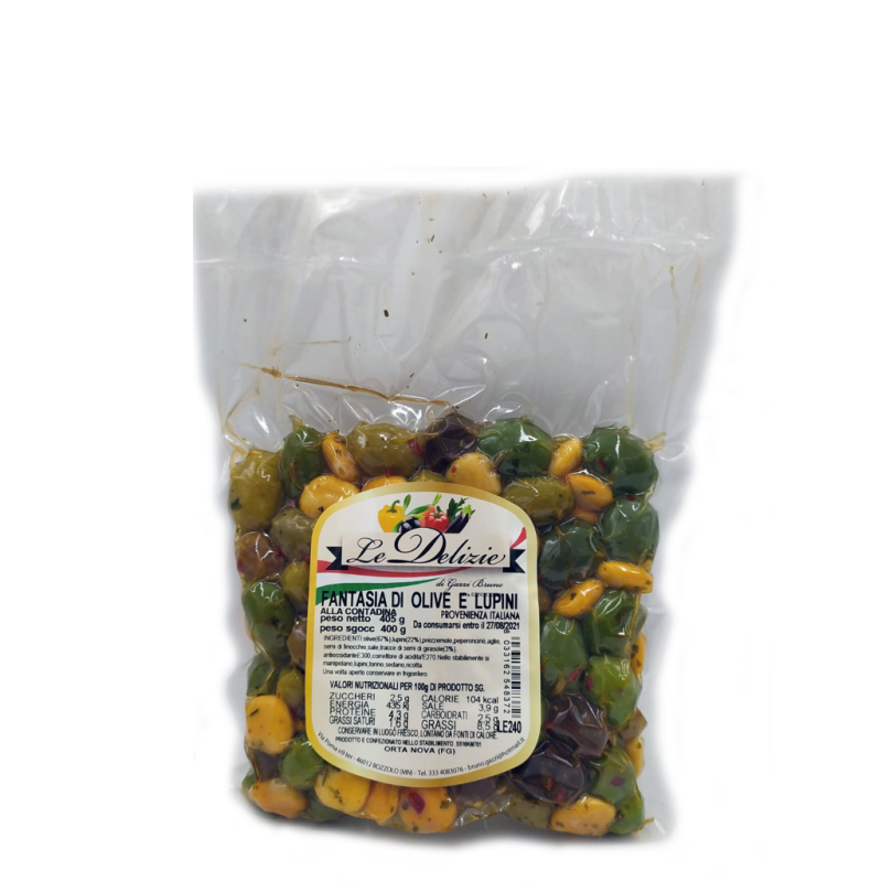 FANTASIES OF OLIVES AND LUPINS IN BAG